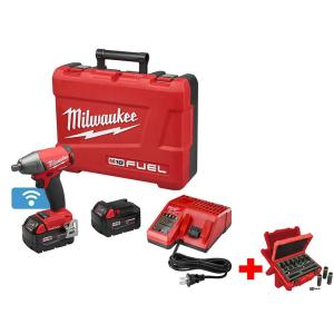 Milwaukee M18 FUEL ONE-KEY 18-Volt Lithium-Ion Brushless Cordless 1/2 inch Impact Wrench Friction Ring Kitw/ Socket... by Milwaukee