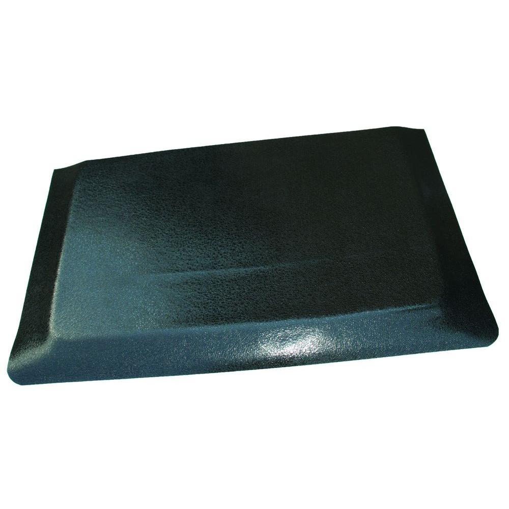 Hide Double Sponge Pebble Brushed Black Surface 24 in. x 36 in. Vinyl Kitchen Mat