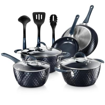 Elegant Diamond 11-Piece Aluminum Nonstick Cookware Set in Blue