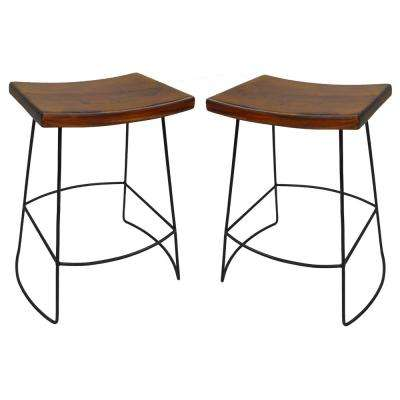 Reece 24 in. Black and Chestnut Bar Stool (Set of 2)