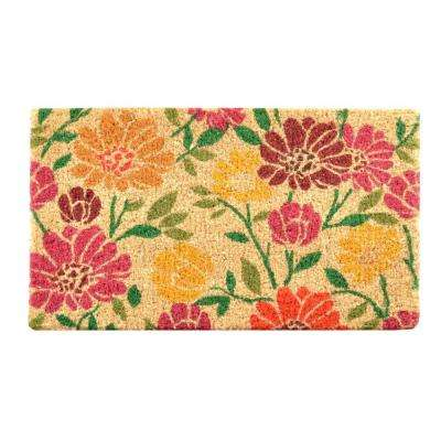 Outdoor Spring Daisies 1 ft. 6 in. x 2 ft. 6 in. Coir Door Mat