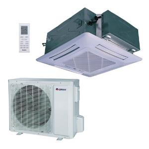 N 34000 BTU Ductless Ceiling Cassette Mini Split Air Conditioner with Heat, Inverter and Remote - 230Volt by N
