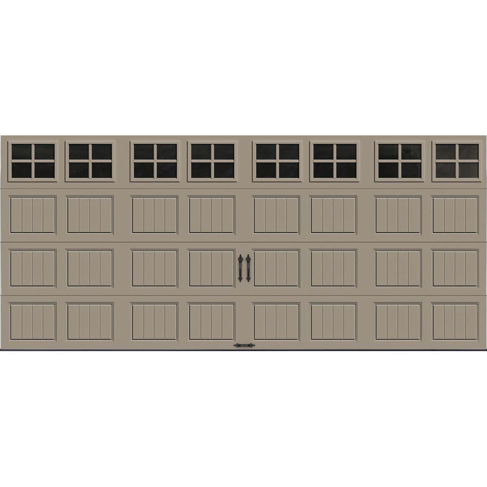 Clopay Gallery Collection 16 Ft X 7 Ft 18 4 R Value Intellicore Insulated Sandtone Garage Door With Sq22 Window Gr2su St Sq22 The Home Depot