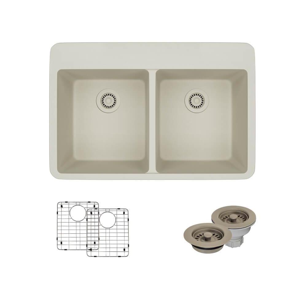 Drop-In Quartz 33 in. Double Bowl Kitchen Sink in Concrete