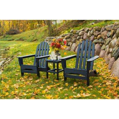 Icon Black Recycled Plastic Folding Adirondack Chair with Side Table (2-Pack)