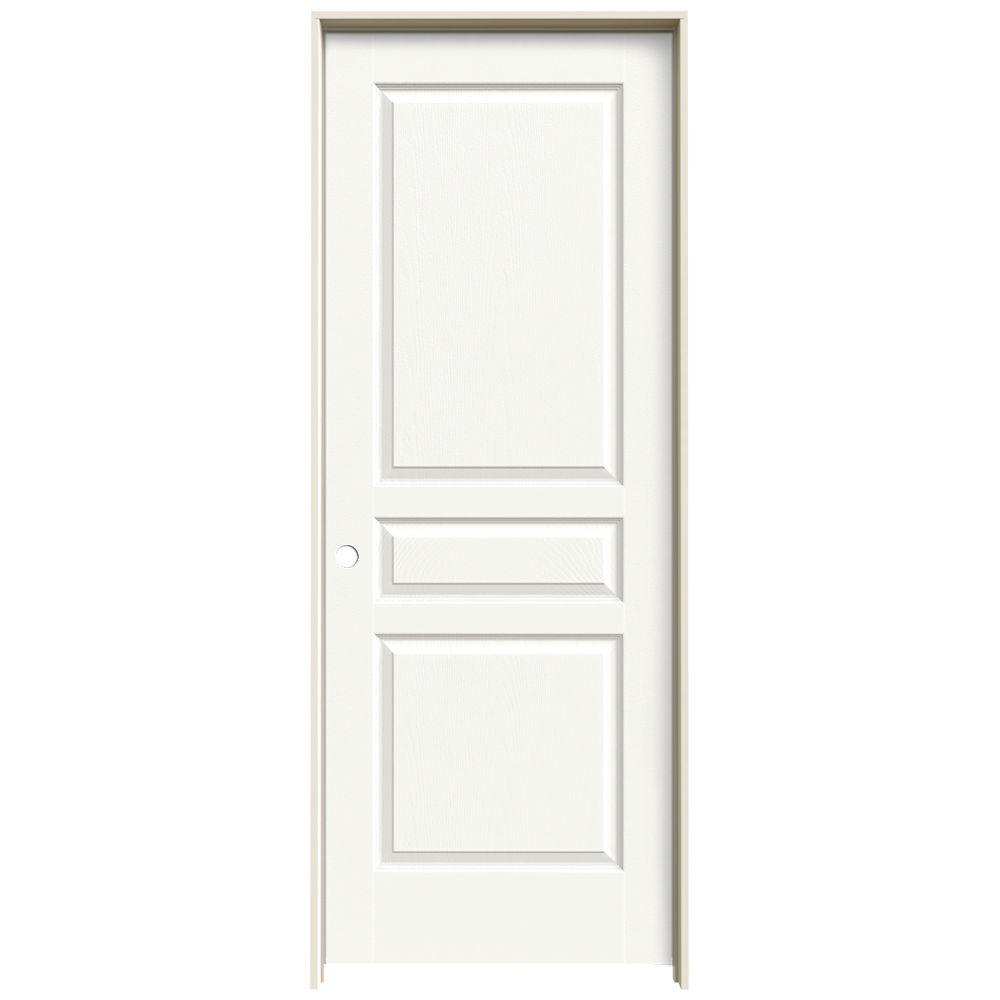 JELD-WEN 28 in. x 80 in. Avalon White Painted Right-Hand Textured Hollow Core Molded Composite MDF Single Prehung Interior Door