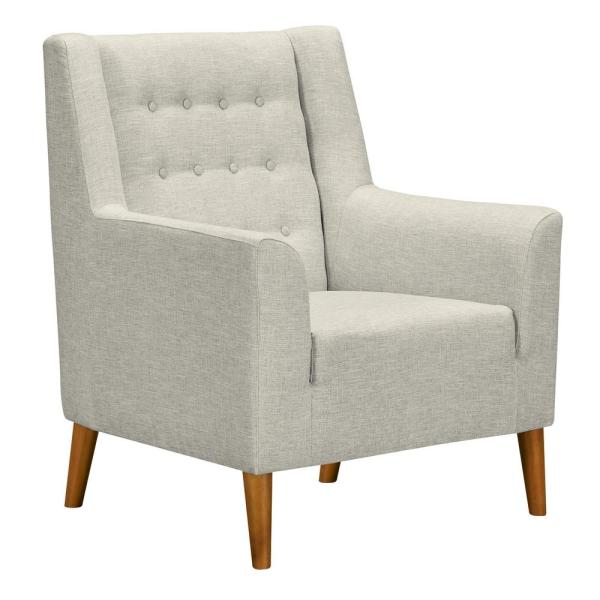 Armen Living Nubia Beige Fabric Accent Chair LCNUCHBE