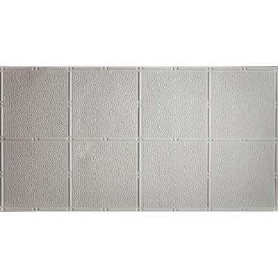 Faux 2 ft. x 4 ft. Glue-up Tin Style Surface Mount Ceiling Tile in White