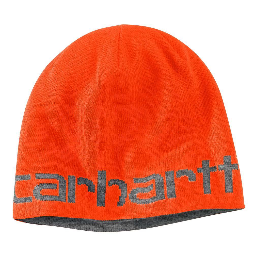 547cd8a4e9d Carhartt Men s OFA Brite Orange Acrylic Greenfield Reversible Hat-100137-824  - The Home Depot