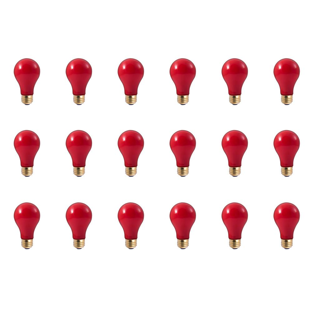 Bulbrite 25-Watt A19 Ceramic Red Dimmable Incandescent Light Bulb (18-Pack)