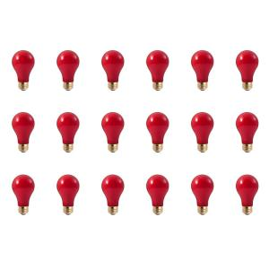 25-Watt A19 Ceramic Red Dimmable Incandescent Light Bulb (18-Pack)