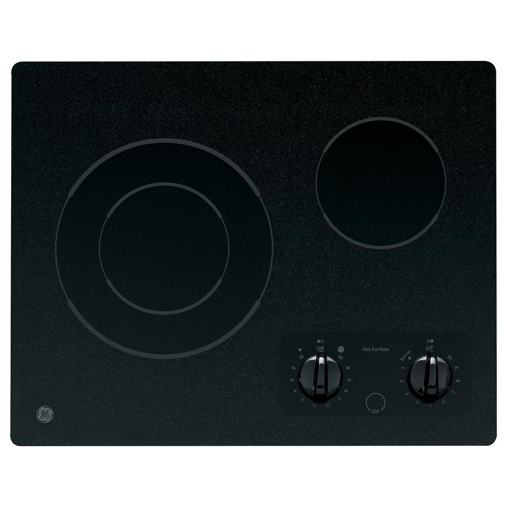 GE 21 In. Glass Ceramic Electric Cooktop In Black With 2
