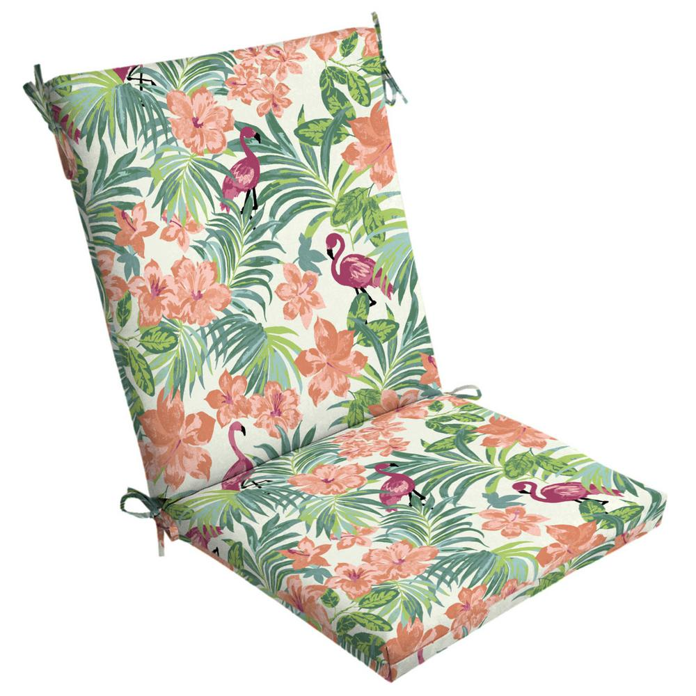 Arden Selections Luau Flamingo Tropical Outdoor High Back Dining Chair  Cushion