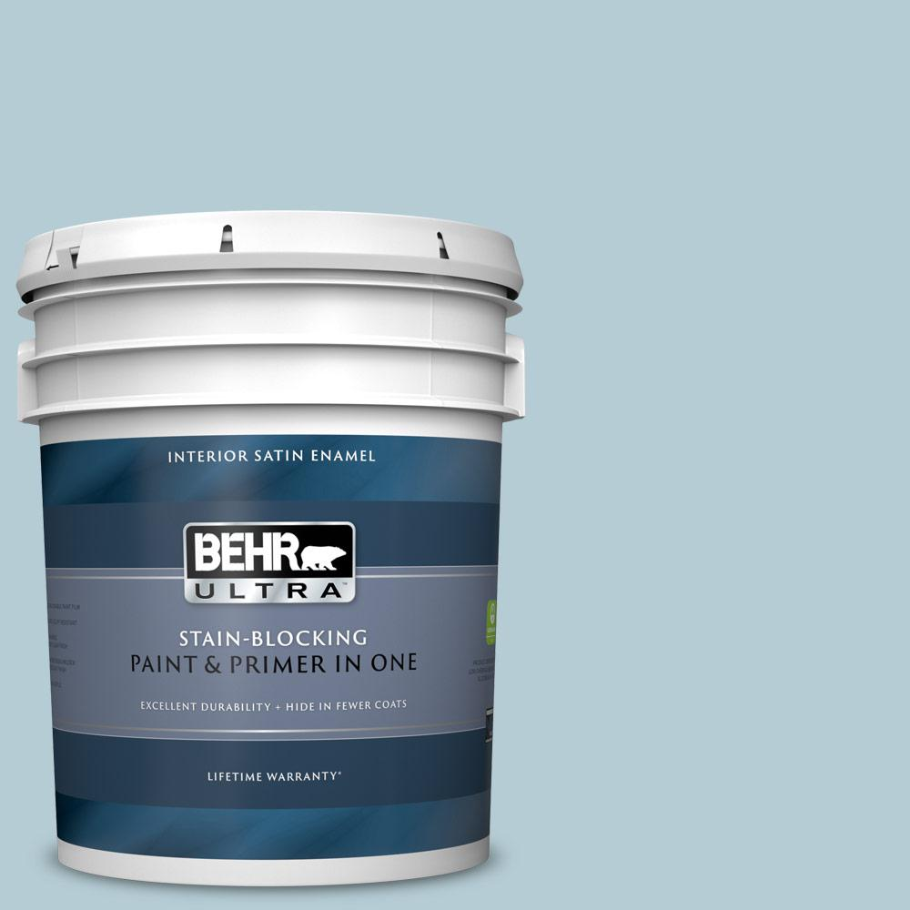 Behr Ultra 5 Gal 530e 3 Sonata Satin Enamel Interior Paint And Primer In One 775005 The Home Depot