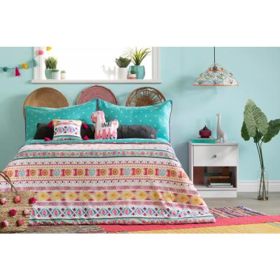 DreamIt 3-Piece Festive Llama Turquoise and Pink Full Comforter and Pillowcase Set