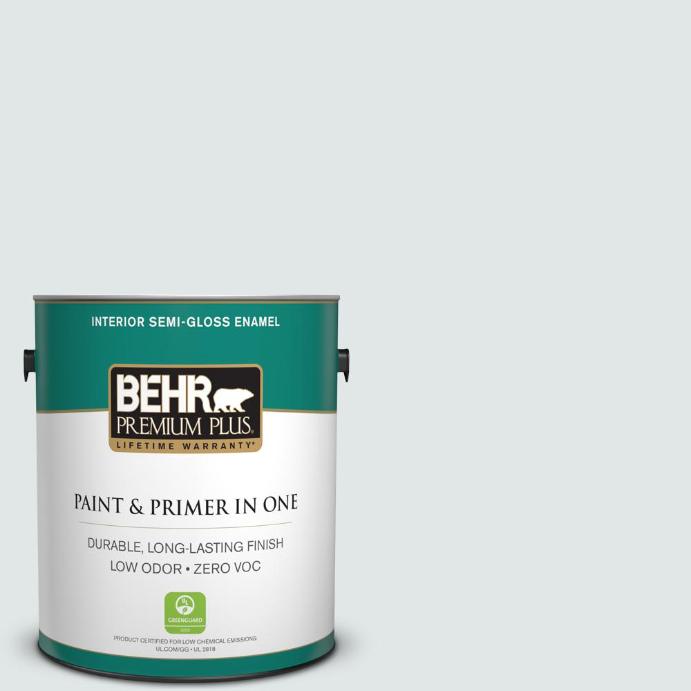 BEHR Premium Plus 1-gal. #BL-W2 Ice Sculpture Semi-Gloss Enamel Interior Paint