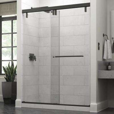 Portman 60 in. x 71-1/2 in. Semi-Frameless Mod Sliding Shower Door in Bronze with 3/8 in. (10mm) Clear Glass