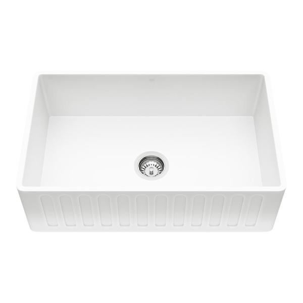 Matte Stone Farmhouse Composite 30 in. Single Bowl Kitchen Sink with 1 Strainer in Matte White