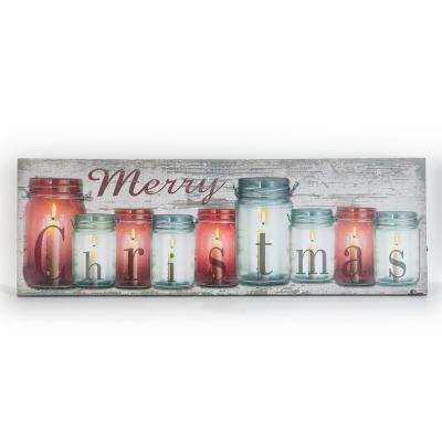 12 in. Christmas Candles Canvas Print with LED Lights