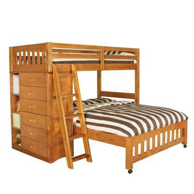 Honey Twin Loft Over Full Bed with 6-Drawer Dresser