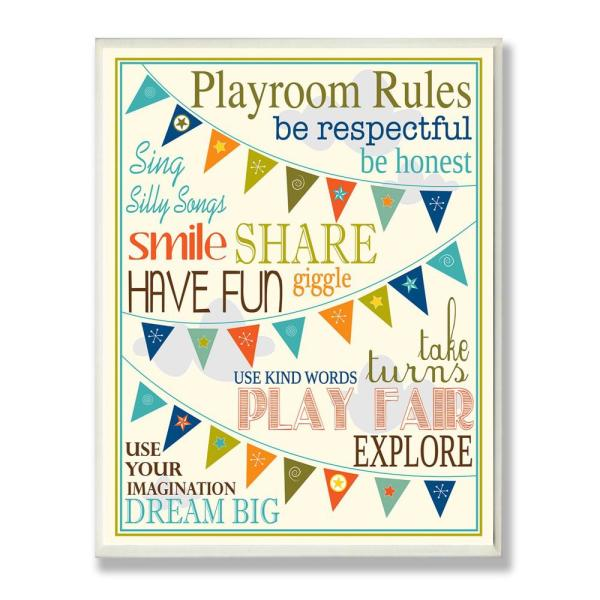 12.5 in. x 18.5 in. ''Playroom Rules With Pennants In Blue'' by Karen Zukowski (Finny And Zook) Printed Wood Wall Art