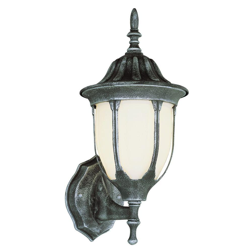 Bel Air Lighting Cabernet Collection 1-Light Outdoor Black Gold Coach Lantern with White Opal Shade
