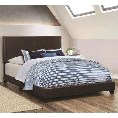 Brown Leather Upholstered Twin Size Platform Bed