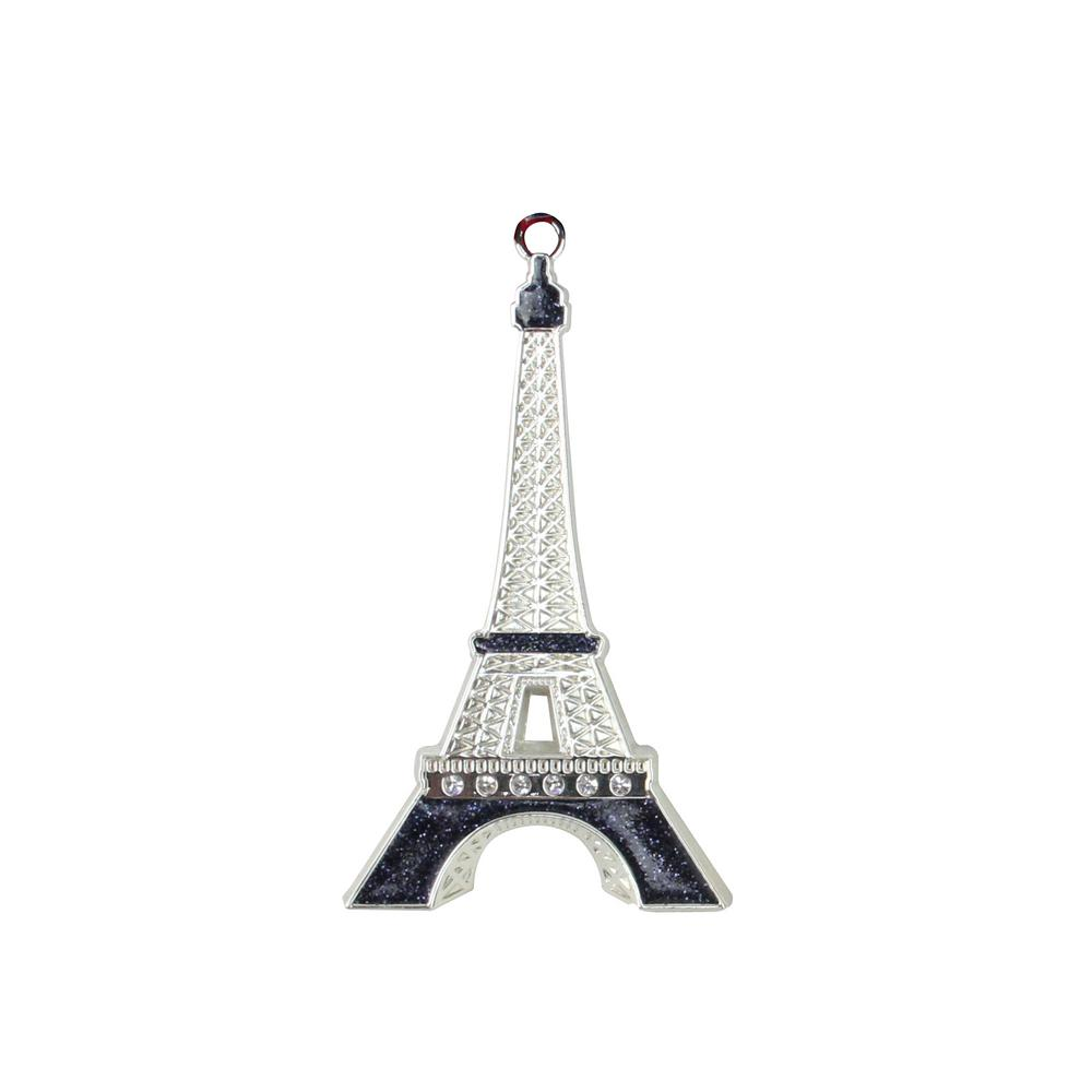 3.5 in. Silver Plated with Crystal Accents Eiffel Tower Christmas Tree