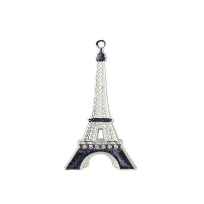 3.5 in. Silver Plated with Crystal Accents Eiffel Tower Christmas Tree Ornament