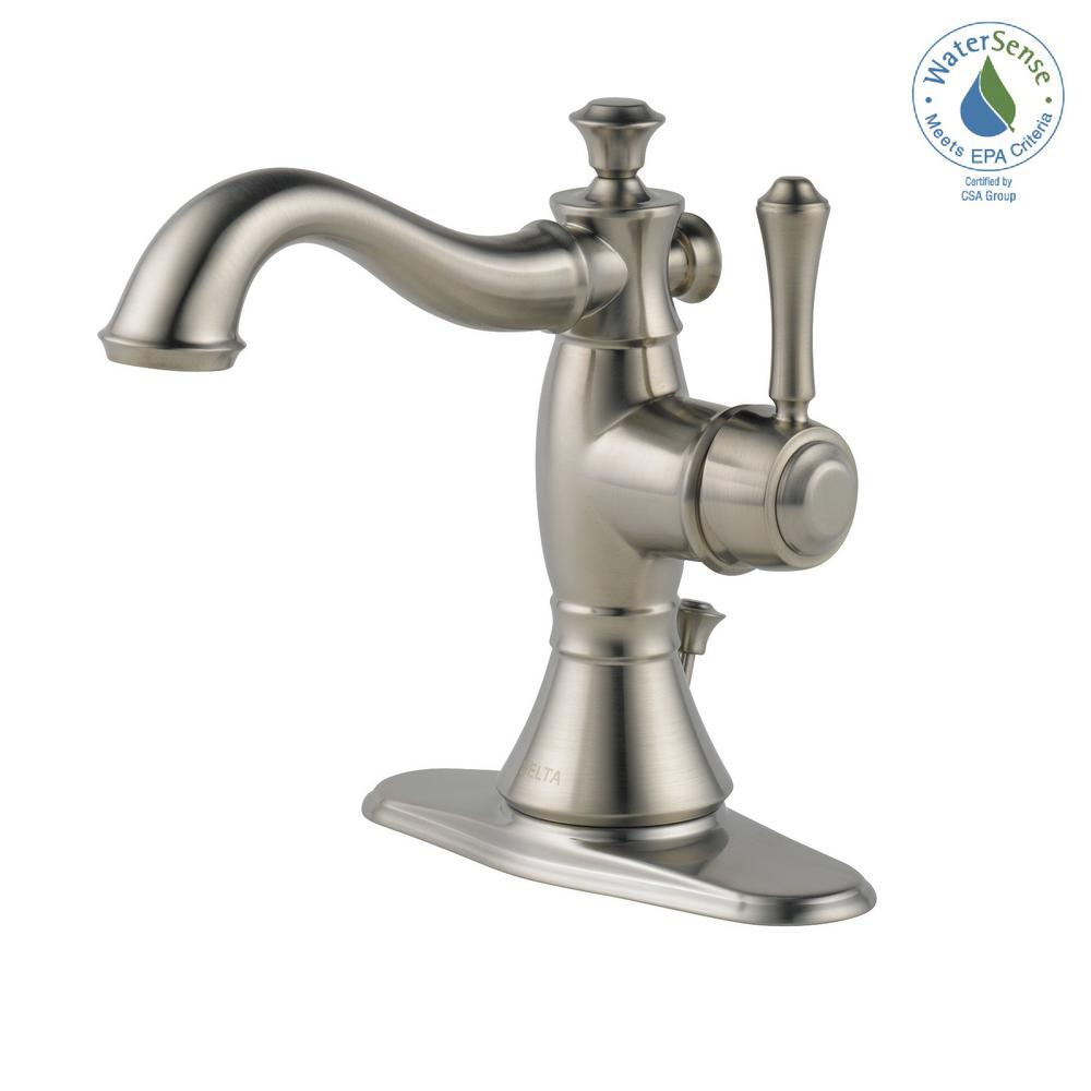 Delta Cassidy Single Hole Single-Handle Bathroom Faucet with Metal Drain  Assembly in Stainless