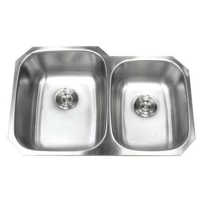 Undermount 18-Gauge Stainless Steel 32 in. x 20-3/4 in. x 9 in. Deep 60/40 Double Bowl Kitchen Sink with Brushed Finish