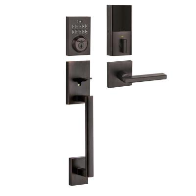 SmartCode 913 Contemporary Venetian Bronze Electronic Deadbolt with San Clemente Handleset and Halifax Interior Lever