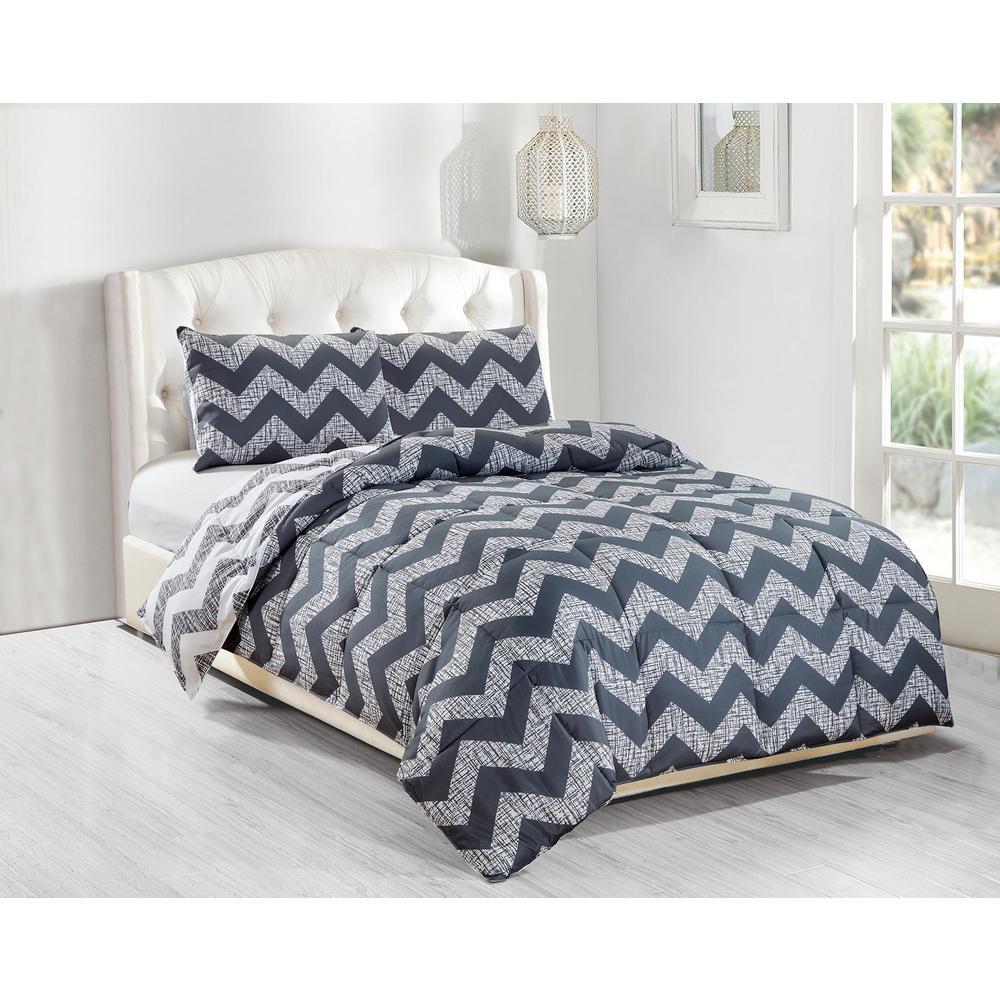 Wyatt 3-Piece Grey Full/Queen Comforter Set