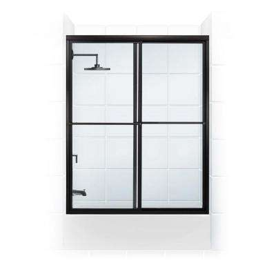 Newport Series 54 in. x 55 in. Framed Sliding Tub Door with Towel Bar in Black Bronze and Clear Glass