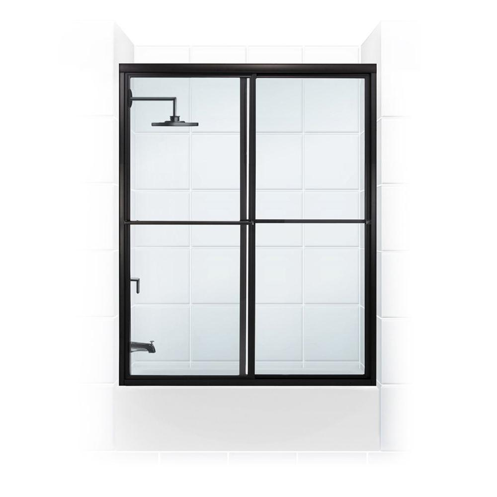 Coastal Shower Doors Newport Series 56 in. x 56 in. Framed Sliding Tub Door with Towel Bar in Oil Rubbed Bronze and Clear Glass