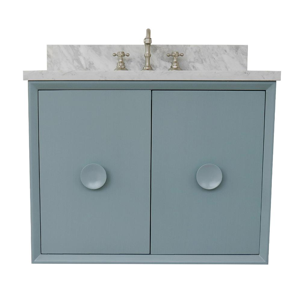 Bellaterra Home Stora 31 in. W x 22 in. D Wall Mount Bath Vanity in Aqua Blue with Marble Vanity Top in White with White Rectangle Basin
