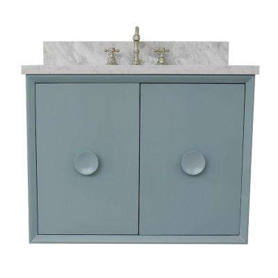 Stora 31 in. W x 22 in. D Wall Mount Bath Vanity in Aqua Blue with Marble Vanity Top in White with White Rectangle Basin