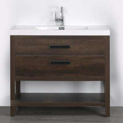 39.4 in. W x 32.5 in. H Bath Vanity in Brown with Resin Vanity Top in White with White Basin