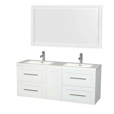 Olivia 60 in. W x 19 in. D Vanity in Glossy White with Acrylic Vanity Top in White with White Basins and 58 in. Mirror