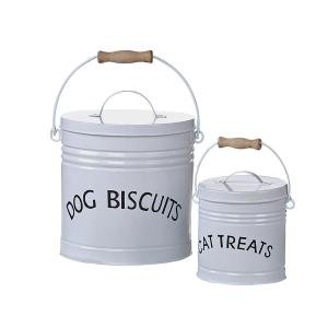 White Enameled Pet Treat Containers (Set of 2 Sizes)