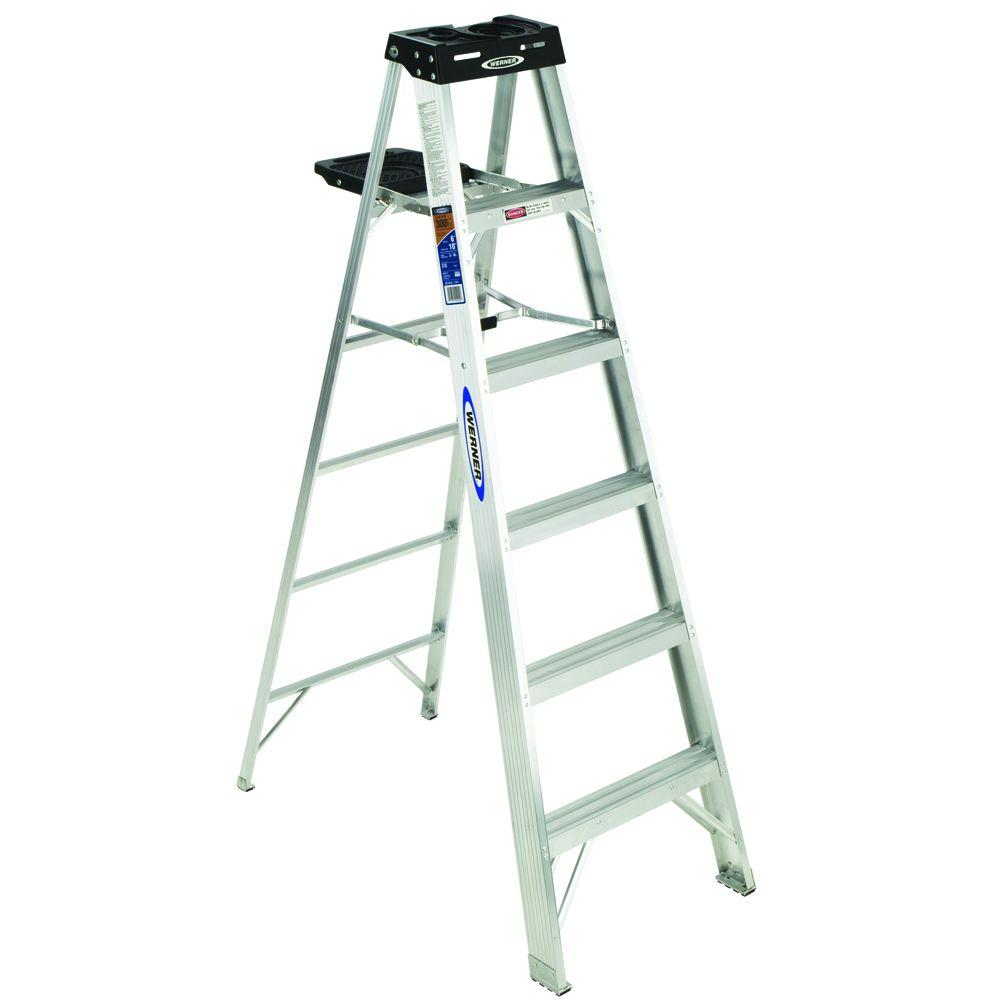 Werner 6 ft aluminum step ladder with 300 lb load for Escalera plegable aluminio homecenter