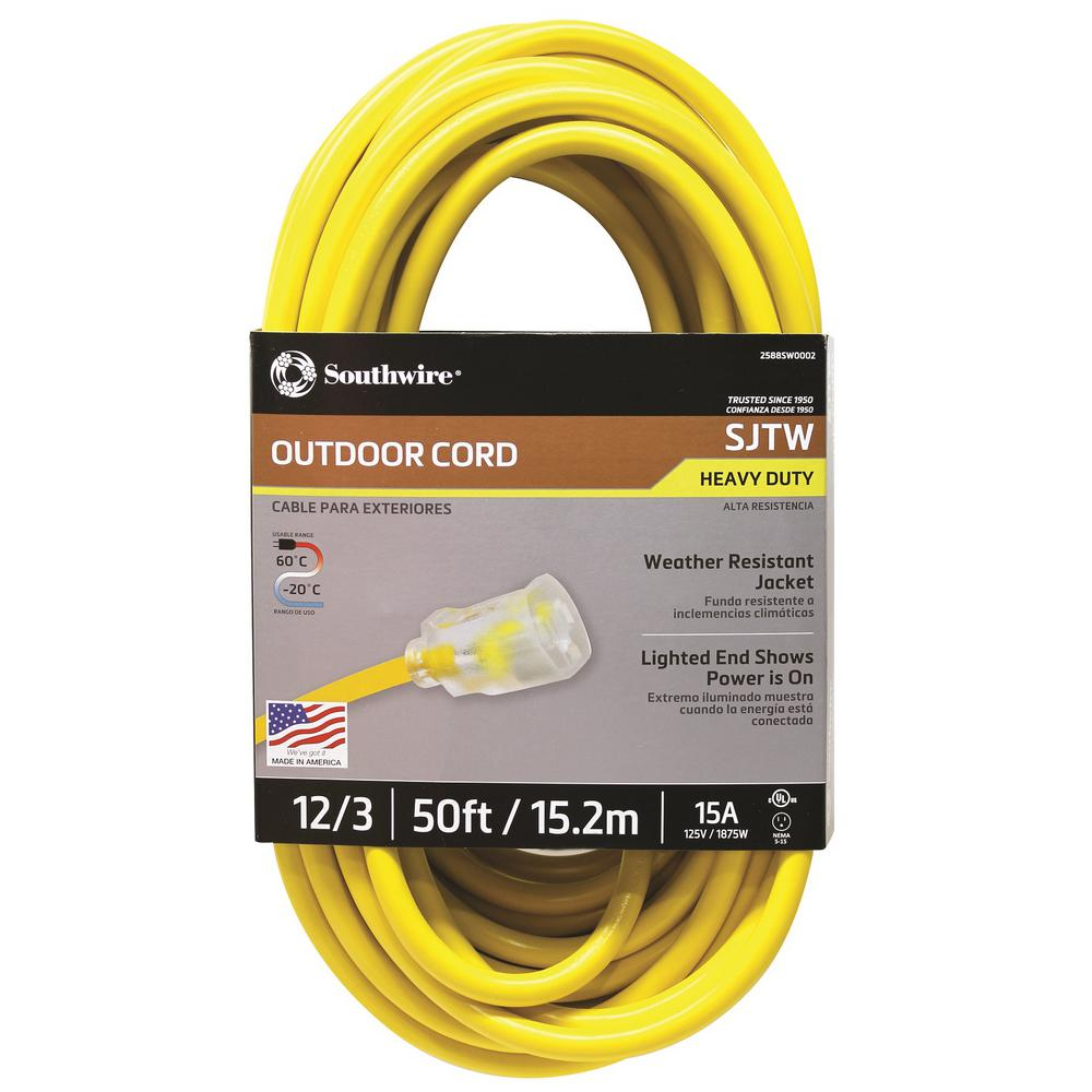 Southwire 50 Ft 12 3 Sjtw Hi Visibility Outdoor Heavy Duty
