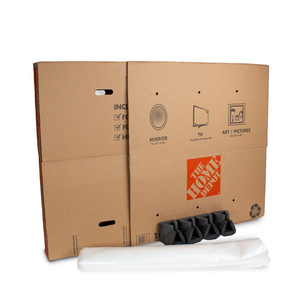 The Home Depot Heavy Duty Extra Large Adjule Tv And Picture Moving Box With