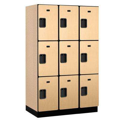 23000 Series 3-Tier Wood Extra Wide Designer Locker in Maple - 15 in. W x 76 in. H x 21 in. D (Set of 3)
