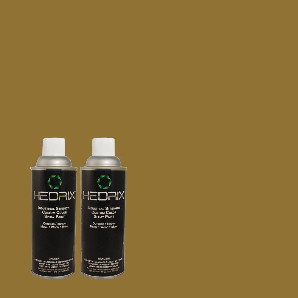 Hedrix 11 oz. Match of S-H-390 Italian Olive Semi-Gloss Custom Spray Paint (2-Pack)
