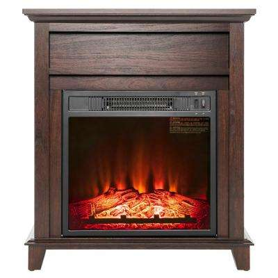 27 in. Freestanding Electric Fireplace Heater in Wooden