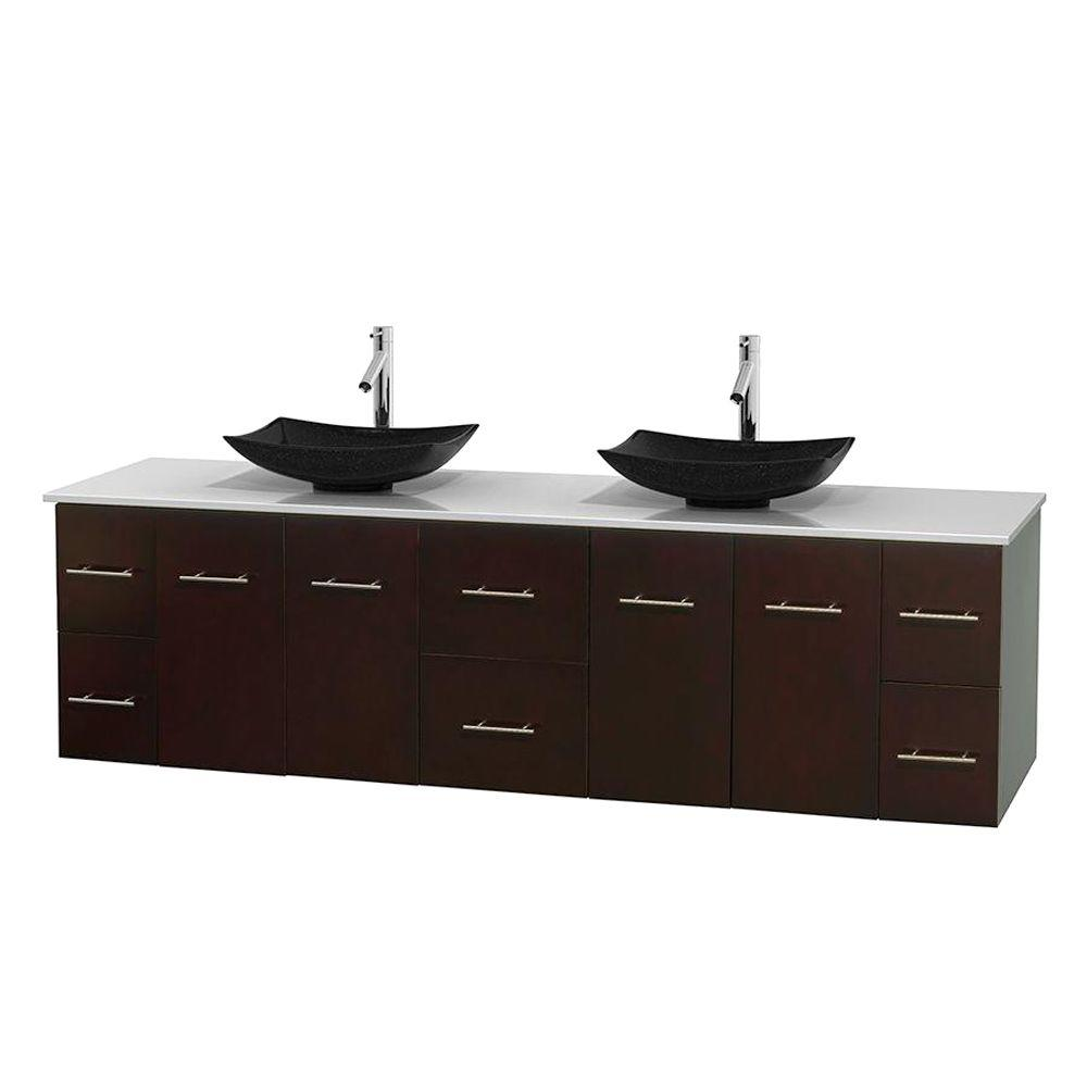 Wyndham Collection Centra 80 in. Double Vanity in Espresso with Solid-Surface Vanity Top in White and Black Granite Sinks