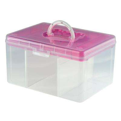 12.8 in. x 9.7 in. Hobby and Crafts Portable Storage Box with Removable Top Organizer Tray and Dividers in Pink