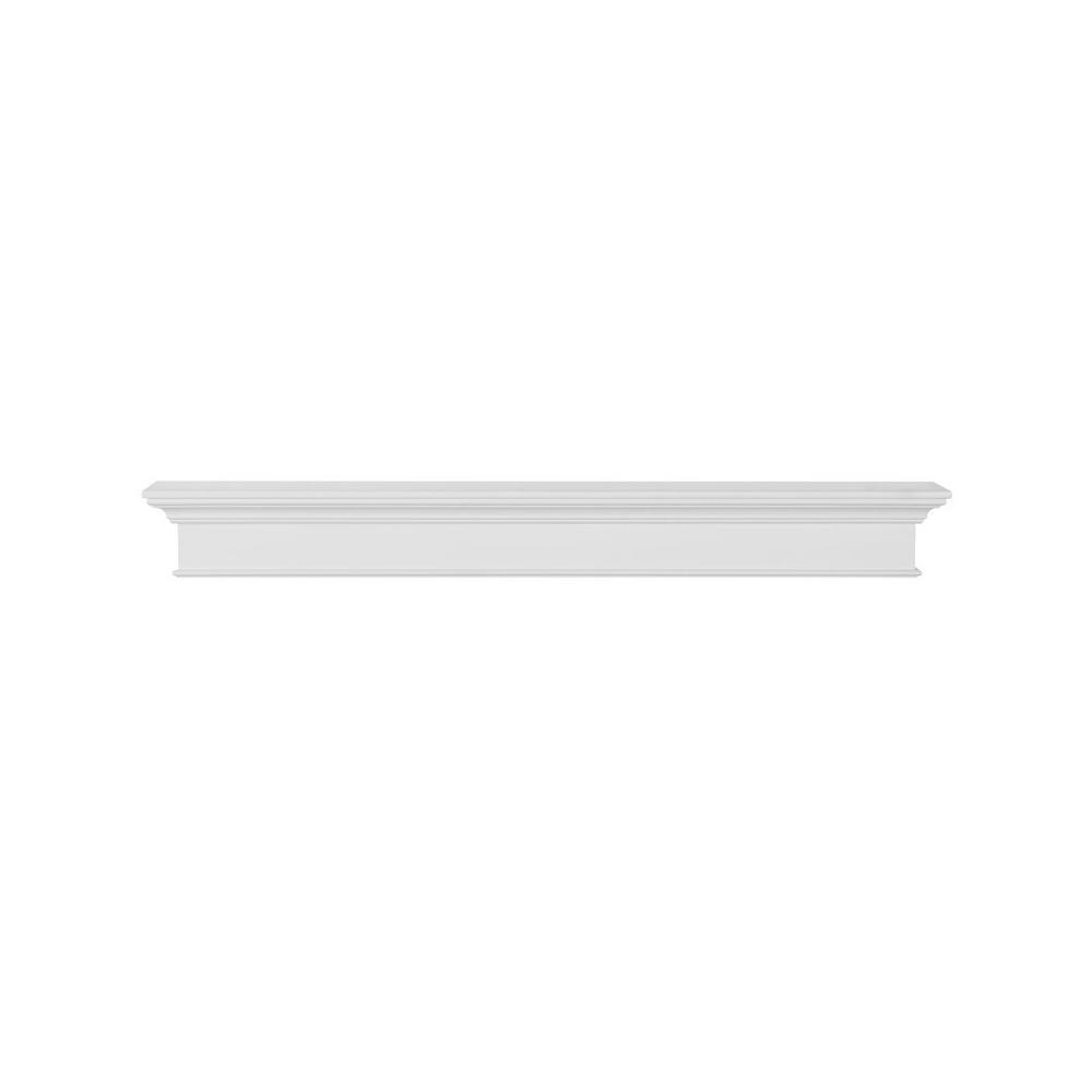 Henry 5 ft. White Paint MDF Distressed Cap-Shelf Mantel
