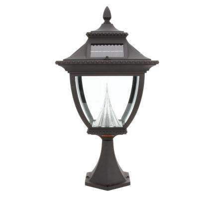 Pagoda Solar Black Outdoor LED Post Light on Pier Base